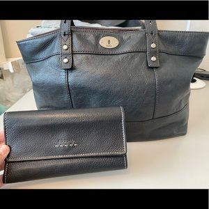 Leather Fossil Bag and Wallet